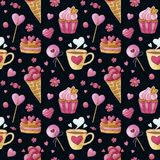 Watercolor seamless pattern with cakes and cups vector illustration