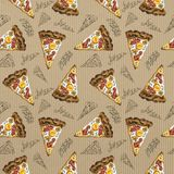 Seamless pattern watercolor carbonara pizza on cardboard royalty free illustration