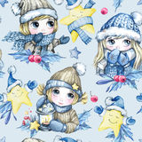 Watercolor seamless pattern with cartoon cute children and magic stars. New Year. Celebration illustration. Merry Stock Photos