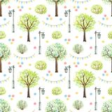 Watercolor seamless pattern with cartoon flowers, trees, bushes, garland and streetlight in park. Seamless pattern with cute cartoon flowers, trees, bushes stock illustration