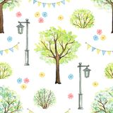 Watercolor seamless pattern with cartoon flowers, trees, bushes, garland and streetlight in park. Seamless pattern with cute cartoon flowers, trees, bushes vector illustration
