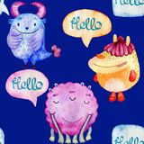 Cute watercolor Monsters Stock Photography