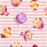 Cute watercolor Monsters royalty free illustration