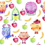Cute watercolor Monsters Stock Photo