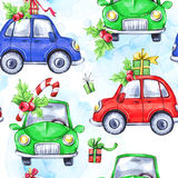 Watercolor seamless pattern with cartoon holidays cars and gifts. New Year. Celebration illustration. Merry Christmas. Can be use in winter holidays design stock illustration