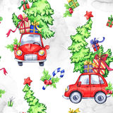 Watercolor seamless pattern with cartoon holidays cars, trees and gifts. New Year. Celebration illustration.. Watercolor seamless pattern with cartoon holidays Royalty Free Stock Images