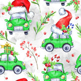 Watercolor seamless pattern with cartoon holidays cars. Trees and gifts. New Year. Celebration illustration. Merry Christmas. Can be use in winter holidays Royalty Free Stock Photography