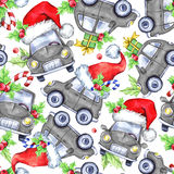 Watercolor seamless pattern with cartoon holidays cars, trees and gifts. New Year. Celebration illustration. Merry Royalty Free Stock Photography