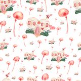 Watercolor seamless pattern of houses with candy,bushes,hearts and mushrooms.Cute cartoon background in delicate colors.Seamless vector illustration