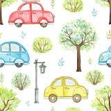 Watercolor seamless pattern with cartoon multicolored cars in park. Seamless pattern with cute cartoon multicolored cars, flowers, trees, bushes and streetlight stock illustration