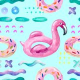 Water color flamingo pool float, donut lilo floating on 80s 90s background. Watercolor seamless pattern with cartoon pool floats in minimal style. Water color Royalty Free Stock Photography