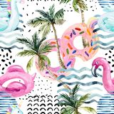 Water color flamingo pool float, donut lilo floating on 80s 90s background. Watercolor seamless pattern with cartoon pool floats, palm trees in minimal style vector illustration