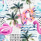 Water color flamingo pool float, donut lilo floating on 80s 90s background. Watercolor seamless pattern with cartoon pool floats, palm trees in minimal style Stock Photography