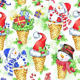 Watercolor seamless pattern with cartoon snowman, Santa hat and gifts. New Year. Celebration illustration. Merry. Christmas. Can be use in winter holidays Stock Photo