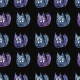 Watercolor seamless pattern with cats stock illustration