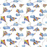 Watercolor seamless pattern with checkerboard and striped kites air. Hand drawn vintage kite with retro design Stock Image