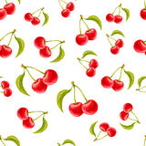 Watercolor seamless pattern with cherries. Hand drawn design. Vector summer fruit illustration Stock Photos