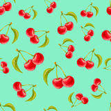 Watercolor seamless pattern with cherries on turquoise background. Hand drawn design. Vector summer fruit illustration Royalty Free Stock Images