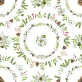 Watercolor seamless pattern with Christmas circles compositions vector illustration