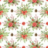 Watercolor seamless pattern with Christmas compositions stock illustration