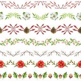 Watercolor seamless pattern with Christmas ornament stock illustration
