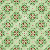 Watercolor seamless pattern with Christmas ornaments on light green background royalty free stock photo