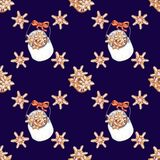 Watercolor seamless pattern on the Christmas theme royalty free illustration