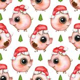 Watercolor seamless pattern with Christmas tree and pigs in Sant vector illustration