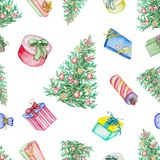 Watercolor seamless pattern with Christmas tree and presents stock illustration