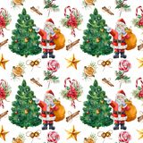 Watercolor seamless pattern with Christmas tree and Santa. Hand painted holly, mistletoe, poinsettia, bells, star vector illustration
