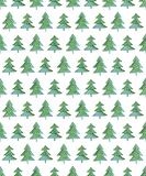 Watercolor  seamless pattern with Christmas tree. For winter holidays design Royalty Free Stock Photos