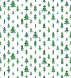 Watercolor  seamless pattern with Christmas tree Royalty Free Stock Photos