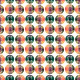 Watercolor seamless pattern. Circles fashion background. Can be used for wrapping paper and fabric design. Royalty Free Stock Photo
