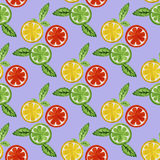 Watercolor seamless pattern with citrus. Watercolor seamless pattern with grapefruit, orange and lime. Vector illustration Stock Images