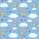 Watercolor seamless pattern clouds and birds. blue background. Watercolor seamless pattern clouds and birds stock illustration