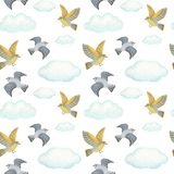 Watercolor seamless pattern clouds and birds. white background. Clouds and birds. watercolor seamless pattern royalty free illustration