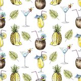 Watercolor seamless pattern with cocktails, pineapple and palm b stock illustration