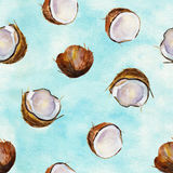 Watercolor seamless pattern with coconuts. Watercolor background. Royalty Free Stock Photos