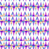 Watercolor seamless pattern. With colofrul triangles on white background. Raibow prink or wallpaper Royalty Free Stock Photography