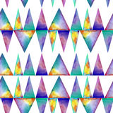 Watercolor seamless pattern. With colofrul triangles on white background. Raibow prink or wallpaper Stock Photography