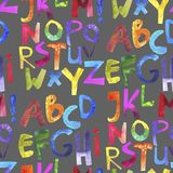 Watercolor seamless pattern with colorful alphabet. Grunge handwritten type set. Rough cutout painted font. Rainbow letters on grey stock illustration