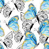 Watercolor seamless pattern with colorful butterflies. Good for Royalty Free Stock Photography