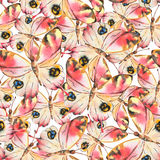 Watercolor seamless pattern with colorful butterflies. Good for Royalty Free Stock Photo