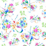 Watercolor seamless pattern with colorful butterflies. Good for Stock Image