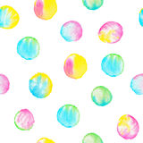 Watercolor seamless pattern with colorful circles. Hand drawn round shapes. Vibrant happy background Royalty Free Stock Image