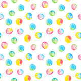 Watercolor seamless pattern with colorful circles. Hand drawn round shapes. Vibrant happy background Stock Photos