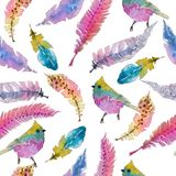 Watercolor seamless pattern with colorful feathers and bird Royalty Free Stock Image