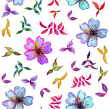 Watercolor seamless pattern with colorful flowers and. Watercolor seamless pattern with decorative colorful flowers and leafs Royalty Free Stock Images