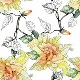 Watercolor seamless pattern with colorful flowers and leaves on white background, watercolor floral pattern, flowers in. Pastel color, tile for wallpaper, card vector illustration