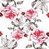 Watercolor seamless pattern with colorful flowers and leaves on white background, watercolor floral pattern, flowers in royalty free illustration